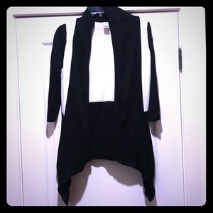 Black and White Color Block Cardigan